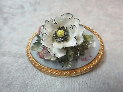 Abbeydale Duffield Derbyshire England Bone China Floral Pin Brooch Signed E Holt