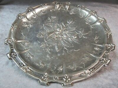"Sterling Silver Low Footed Floral Pattern Dish Plate - 8 1/2"" - Hallmarked"