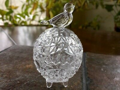 Vintage Cut Glass Crystal Egg Dish, Footed With Bird On Top Trinket Box Figure