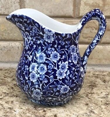 Calico Vintage Crownford China Staffordshire England Pitcher Blue White