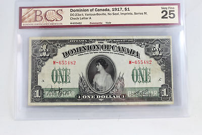 Dominion of Canada 1917 $1 DC-23a-ii Various-Boville No Seal BCS VF-25