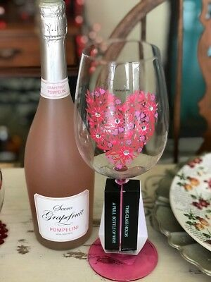 Cynthia Rowley Oversized Valentine S Day Wine Glass Pink Floral