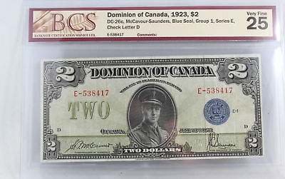 Dominion of Canada 1923 $2 DC-26c McCavour-Saunders Blue Seal VF-25
