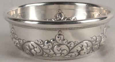 Gorgeous Antique Simons Bros. Round Debossed Repousse Sterling Silver Dish Bowl
