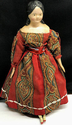 "c.1840s MILLINER'S MODEL Doll 14.5"" -TERRIFIC Antique Hand-Carved Limbs Kid Body"