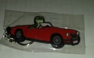 Brand New Geico Gecko Rubber Key Chain In Red Sports Car