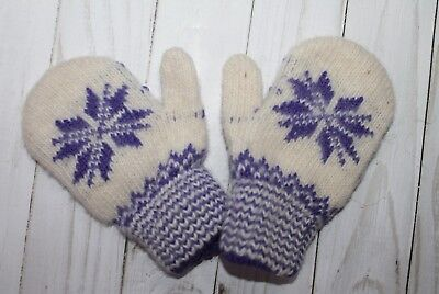 NEW Baby winter mittens homemade knitted 100% sheep wool craft warm 1-2 years
