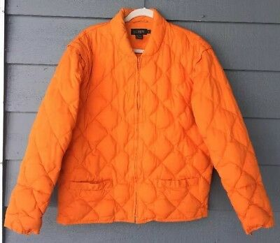 J CREW DOWN Quilted Jacket / Vest Orange Men's Size L
