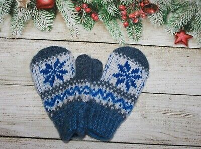 NEW Baby winter mittens homemade knitted 100% sheep wool craft warm DEER