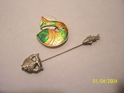 Vintage 2 Piece Lot Of Fish Jewelry Brooch And Hat/stick Pin