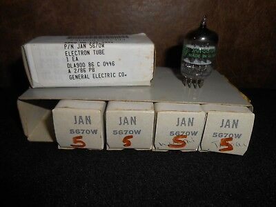 Lot of 5 GE JAN 5670W Tubes  NIB/NOS  ~ full sleeve