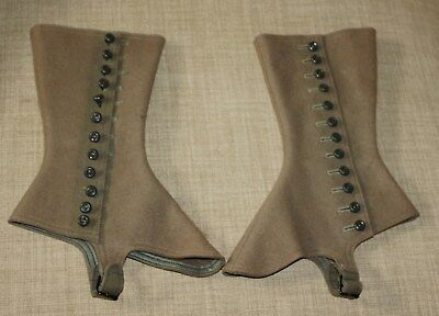 Antique Spats Steampunk Gaiters Shoe Boot Covers Brown   Wool Felt