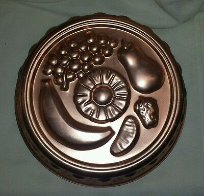 Vintage Copper Tone Fruit Wall Hanging Decor Kitchen Jello Mold Country Kitchen