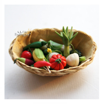 Dollhouse Miniature Clay vegetables in the Basket Food Toy DIY Scene Accessories