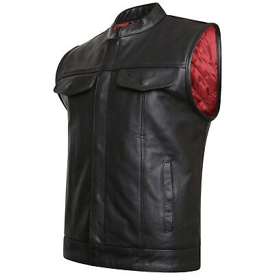 "Real Leather Son Of Anarchy & Gun Pocket Motorcycle Biker ""Cut Off"" Waistcoat"
