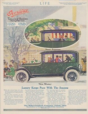 Vintage 1917 Colored Print Ad For Willys-Overland Touring Sedan Automobile/Car