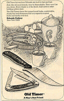 1974 small Print Ad of Schrade Old-Timer 150T & 80T Knife