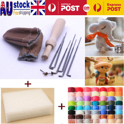 20Colors DIY Needle Felting Starter Kit Set Natural Wool Needles Felt Mat Tool
