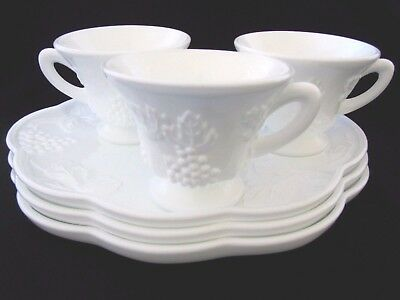Vintage Indiana Colony Harvest Grape Milk Glass Snack Sets 3 Plates 3 Cups White