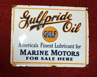 gulfpride oil porcelain sign.