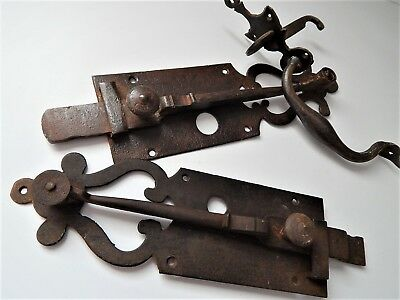 Lot of 3 Antiques French Wrought Iron Lock Door Slide Bolt Latch,19th C Handle