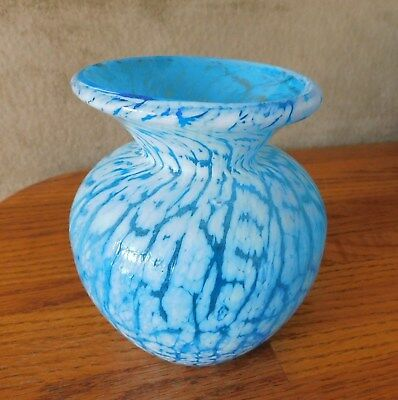 Vintage HANDCRAFTED Studio Art-Glass Blue Glass Vase Craquelle