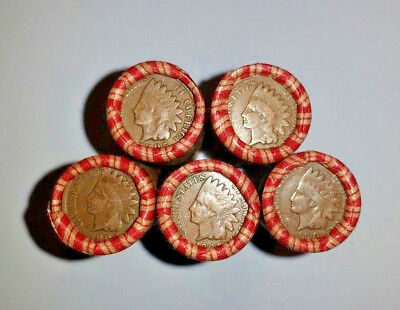 5 Unsearched Penny Rolls - Indian Head Cents Wheat Pennies Sealed Crimped Roll
