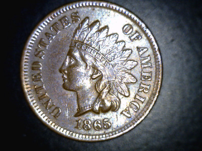 1865 INDIAN HEAD CENT - FANCY 5 - FULL LIBERTY -  AU COIN for LESS THAN XF MONEY