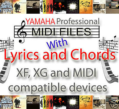 Yamaha Chords & Lyrics 8,000 Midi Files & Backing Tracks / Songs - Xf, Xg & Gm