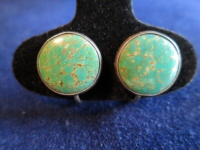 Vintage Turquoise Screw Screwback Button Earrings Spiderweb Number 8