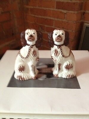 Vintage Pair Reproduction Staffordshire Dogs Chalkware Liberty Workshop