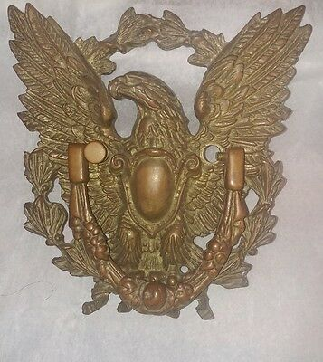 Early large brass spread winged eagle door knocker circa 1880 RARE