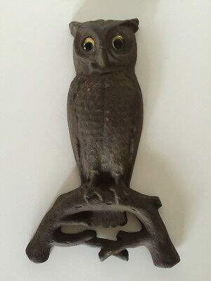 """Vintage PS & W Co 15"""" Fireplace Andiron Part Cast Iron Owl w/ Glass Eyes"""