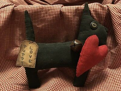 Primitive folk art Valentine day dog with heart tuck ornie doll