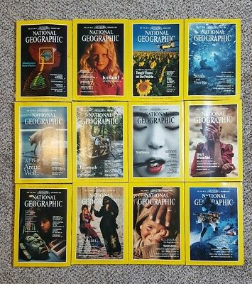 1987 Complete Year of National Geographic Magazine Set of 12 With Map