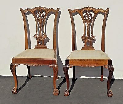 Pair Two Vintage Chippendale Style Ornate Carved Wood Accent CHAIRS