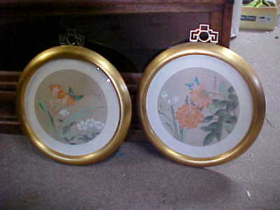 Pair Of Professionally Framed Oriental Prints Signed Very Nice Estate Find Round