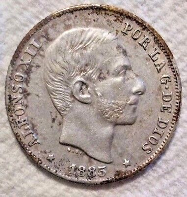 1885 Philippines 20 Centimos KM# 149 .835 Silver Coin Nice Detail