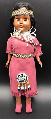 """Native American Doll Handmade Indian Bead Work Unique by Carlson? Eyes Move 12"""""""
