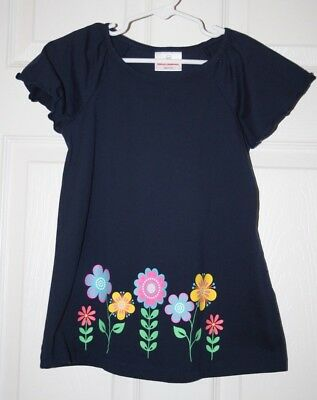 EXC Cond! Hanna Andersson Sz 120 Girls Navy w/flowers shirt top tunic