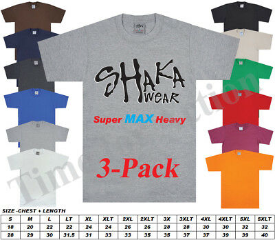 Shakawear Shaka Wear Super Max Heavy 3-Pack Blank T-Shirts Regular or Tall