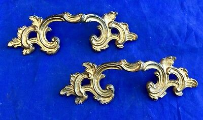 2 Vtg Keeler Brass French Provincial Dresser Drawer Pulls Ornate Handles Gold 6""