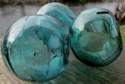 "Japanese GLASS Fishing FLOATS 3"" Lot of 3 TEAL Seamed Misshapen Pumpkin Odd Vntg"
