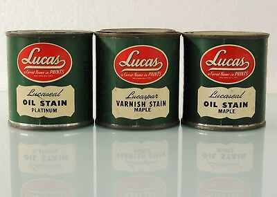 3 Vintage Lucas Paint Cans Advertising Contains Half Pint Paint For Charity