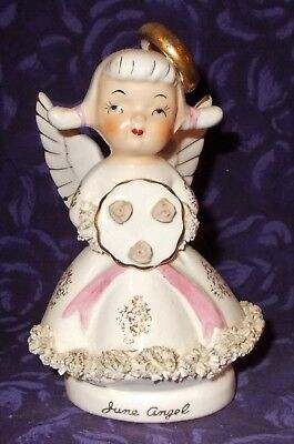 Vintage June Birthday Angel Holding Bouquet of Roses Spaghetti Trim 4.5""