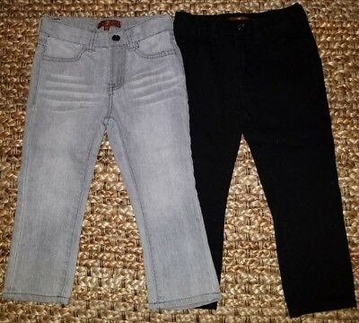LOT of 2 7 for All Mankind Toddler Jeans 2T Adjustable Waist Straight Gray/Black