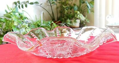 Vintage Federal Glass Depression Glass Ruffled Bowl Columbia Clear 10½""
