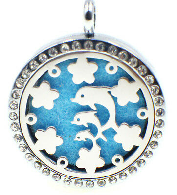 Dolphins Crystals, Diffuser Necklace Locket Stainless Still, 10ml Oil, 11 pads
