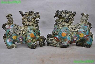 Old China bronze Cloisonne fengshui wealth lion foo dog pixiu beast statue pair