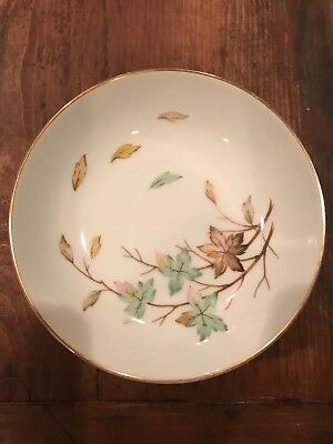 Halsey China Porcelain Swirling Leaves Soup Bowls - 7 3/4 inches x 1 1/4 inches